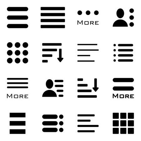 Hamburger Menu Icons Set. Bar Line Hamburger Menu Collection. Vector Illustration of Hamburger Menu Isolated on White Background.