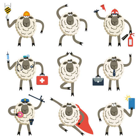 truncheon: Sheep professional character vector set. Vector illustration of different sheep pose and role.