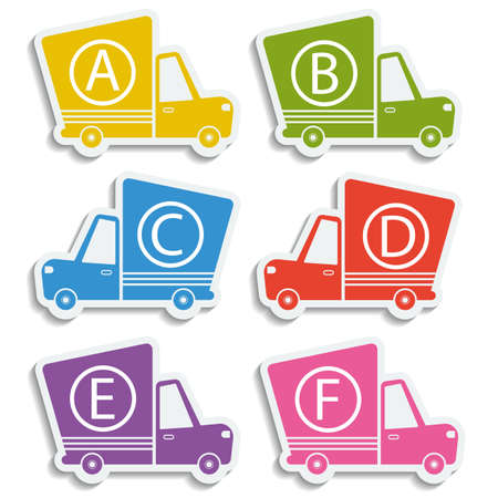 def: Van delivery set of car stickers with letters. Free delivery, fast delivery, free shipping colorful logo icons set with blend shadows on white background. Vector.