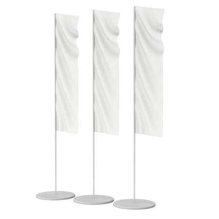 blank template: White Flag Blank Expo Banner Stand. Trade show expo booth. 3d render illustration isolated on white background. Template mockup for your expo design.