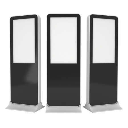 lcd display: LCD Display Stand. Blank Trade Show Booth LCD. 3d render isolated on white background. High Resolution LCD. Ad template for your expo design.