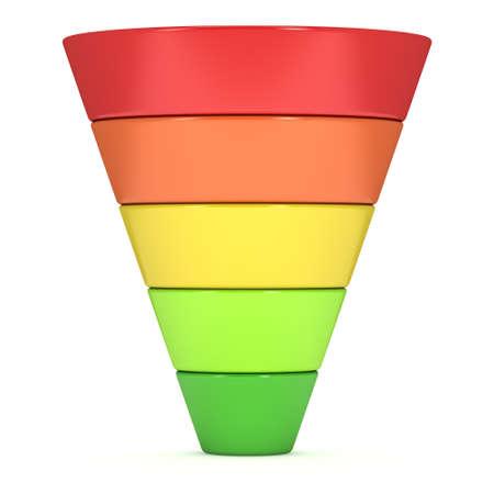 マーケティング目標到達プロセスの販売記号です。3 d のレンダリングは、白い背景で隔離。変換じょうごの販売グラフ。目標到達プロセスと販売の