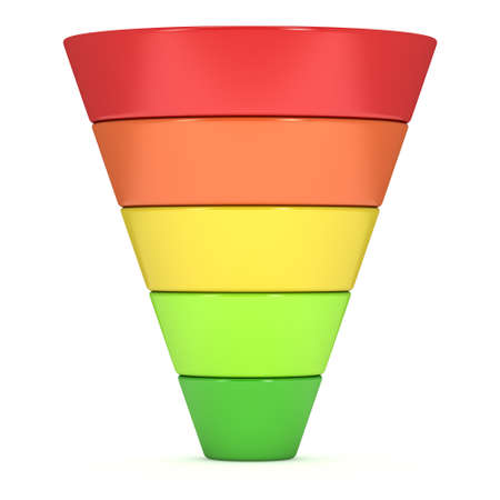 Marketing Funnel Sales Symbol. 3d render isolated on white background. Conversion Funnel Sale Chart. Concept of Funnel and Sales.