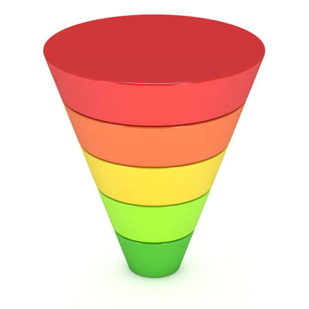 funnel: Marketing Funnel Sales Symbol. 3d render isolated on white background. Conversion Funnel Sale Chart. Concept of Funnel and Sales.
