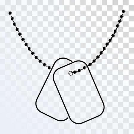 Dog Tagi z ikoną łańcucha samodzielnie na przezroczystym tle. Wektor Nieśmiertelnik sylwetkę. Ilustracja Nieśmiertelnik Soldier ID. Missing in Action Concept.