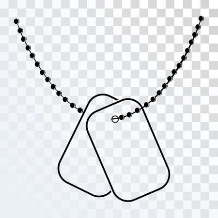Dog Tags met Chain pictogram op een transparante achtergrond. Vector Dog Tag silhouet. Illustratie van Dog Tag Soldier ID. Missing in Action Concept.