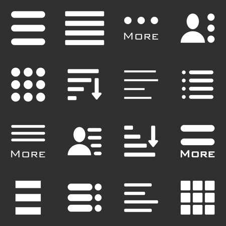 bar line: Hamburger Menu Icons Set. Bar Line Hamburger Menu Collection. Vector Illustration of Hamburger Menu Isolated on dark background.