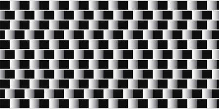Optical illusion. Parallel lines made from black and white pillows. Optical Background Vector Illustration. Optical effect with squares.