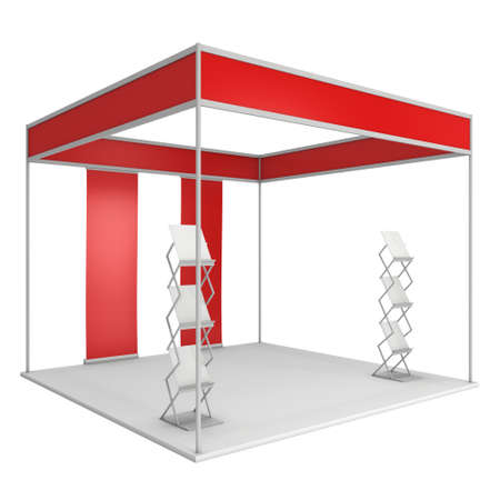 expo: Expo Trade Show Booth Red and Blank with Magazine Rack and Roll Up Stand. Blank Indoor Exhibition with Work Paths for Expo. 3d render isolated on white background. High Resolution Template for your expo design.