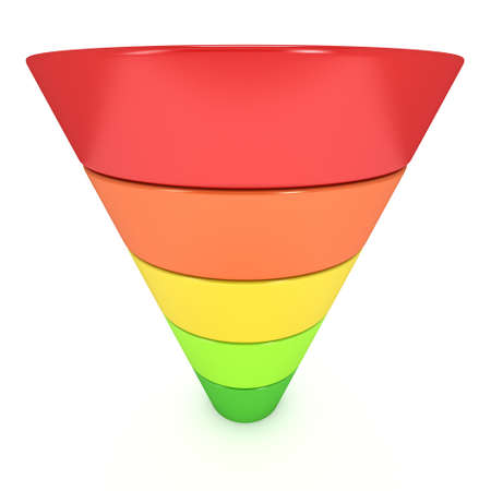 three layered: Marketing Funnel Sales Symbol. 3d render isolated on white background. Conversion Funnel Sale Chart. Concept of Funnel and Sales.