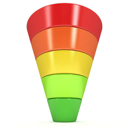 webmarketing: Marketing Funnel Sales Symbol. 3d render isolated on white background. Conversion Funnel Sale Chart. Concept of Funnel and Sales.