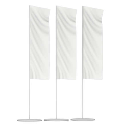 beach ad: White Flag Blank Expo Banner Stand. Trade show expo booth. 3d render illustration isolated on white background. Template mockup for your expo design.