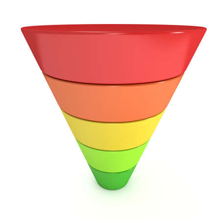 conversion: Marketing Funnel Sales Symbol. 3d render isolated on white background. Conversion Funnel Sale Chart. Concept of Funnel and Sales.
