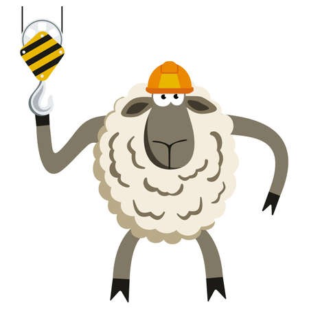 opinionated: Stubborn Lamb Builder. Sheep professional character. Vector illustration of stubborn constraction worker.