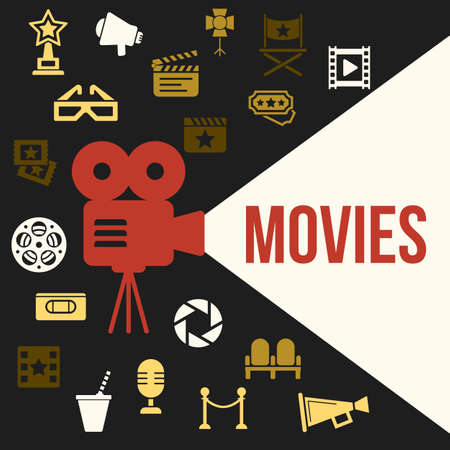 film projector: Cinema Retro Video Projector with Spotlight. Film Projector Highlights Word Movies. Template vector concept with cinema icons. Illustration