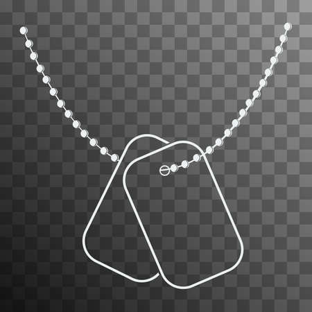 Dog Tags with Chain icon isolated on transparent background. Vector Dog Tag silhouette. Illustration of Dog Tag Soldier ID. Missing in Action Concept.