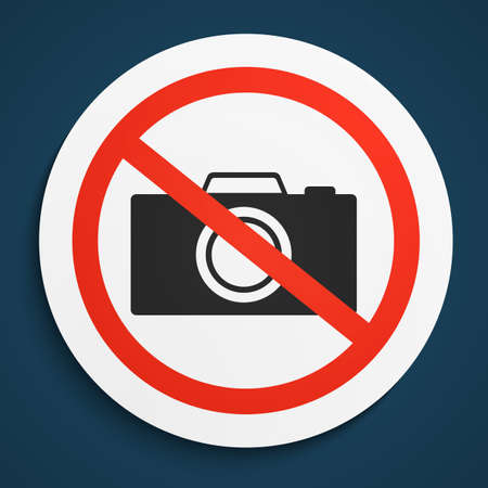 plate camera: No Photos Prohibition Sign on White Round Plate. No Photo Camera forbidden symbol.  No Photos Vector Illustration on blue Illustration