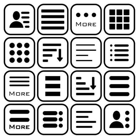 bar line: Hamburger Menu Icons Set. Bar Line Hamburger Menu Collection. Vector Illustration of Hamburger Menu Isolated on white background.