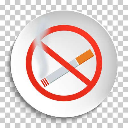 smoldering: No Smoking Sign on White Round Plate. No Smoking forbidden symbol.  No Smoking Vector Illustration on transparent background