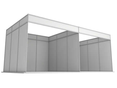Large Trade Show Booth with Two Segments. White and Blank. Blank Indoor Exhibition with Work Paths. 3d render isolated on white background. High Resolution Ad Template for your Expo design. Stock Photo