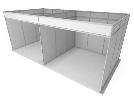 trade show: Large Trade Show Booth with Two Segments. White and Blank. Blank Indoor Exhibition with Work Paths. 3d render isolated on white background. High Resolution Ad Template for your Expo design. Stock Photo