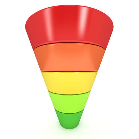 conversion: Marketing Funnel Sales Diagram. 3d render isolated on white background. Conversion Funnel Sale Chart. Concept of Funnel and Sales.