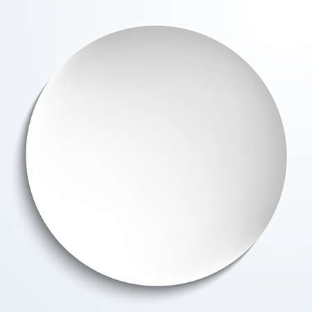 Empty white paper plate. Vector round plate Illustration on white background. Plate background for your design.