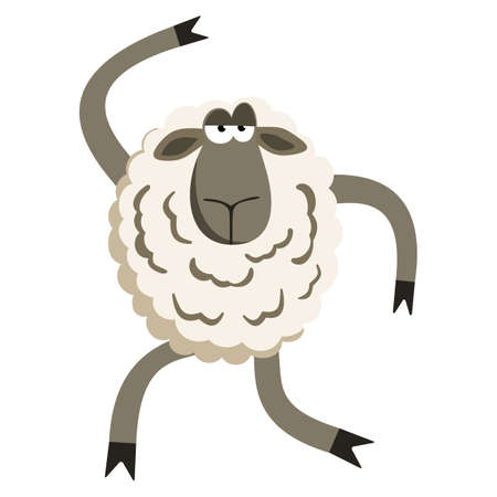 yeanling: Stubborn Silly Dance Lamb. Sheep character. Vector illustration of stubborn dancer.