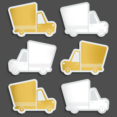 gold rush: Van delivery set of blank stickers. Free delivery, fast delivery, free shipping white an gold logo icons set with blend shadows on white background. Vector.