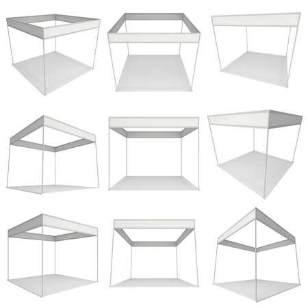 expositor: Stand de feria Blanca y Set en blanco. Exposición cubierta en blanco con los caminos del trabajo. 3d aislado en el fondo blanco. Plantilla de anuncio de alta resolución para su diseño Expo.