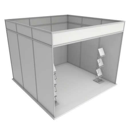 exhibitor: Stand de feria en blanco y negro con revistero. Exposición cubierta en blanco con los caminos del trabajo. 3d aislado en el fondo blanco. Plantilla de alta resolución para el diseño de su exposición.