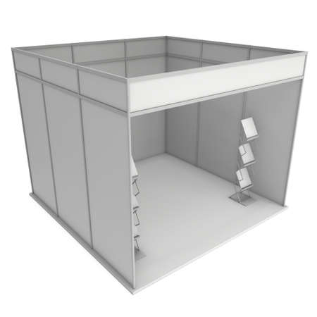 exhibitor: Trade Show Booth White and Blank with Magazine Rack. Blank Indoor Exhibition with Work Paths. 3d render isolated on white background. High Resolution Template for your expo design.