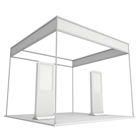 expo: Trade Show Booth White and Blank with Kiosk LCD. Blank Indoor Exhibition with Work Paths. 3d render isolated on white background. High Resolution Template for your expo design.
