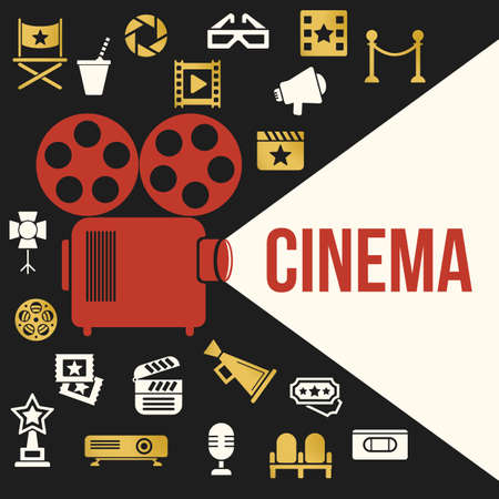 film projector: Cinema Retro Video Projector with Spotlight. Film Projector Highlights Word Cinema. Template Vector Concept with Projector Icon. Illustration