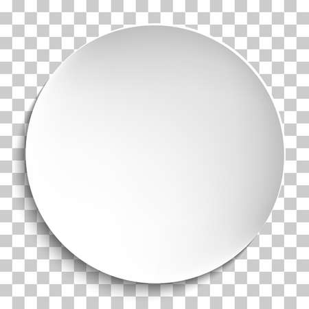 Pusty biały talerz papierowy. Wektor okrągły talerz, Ilustracja na przezroczystym tle. Płyta tło dla swojego projektu.