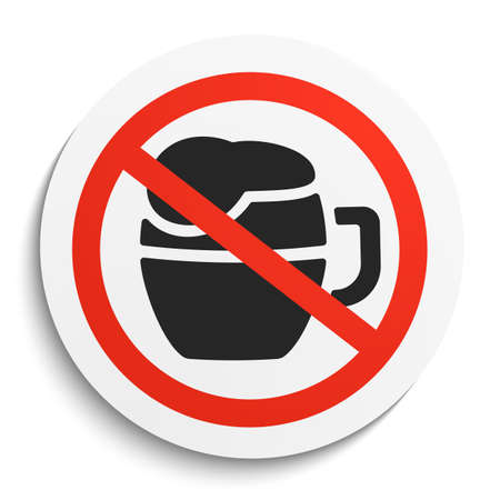 no alcohol: No Beer Prohibition Sign on White Round Plate. No alcohol forbidden symbol.  No Beer Vector Illustration on white background Illustration