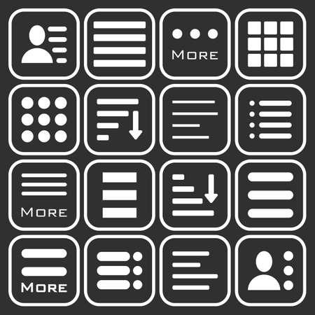 webdesigner: Hamburger Menu Icons Set. Bar Line Hamburger Menu Collection. Vector Illustration of Hamburger Menu Isolated on dark background.