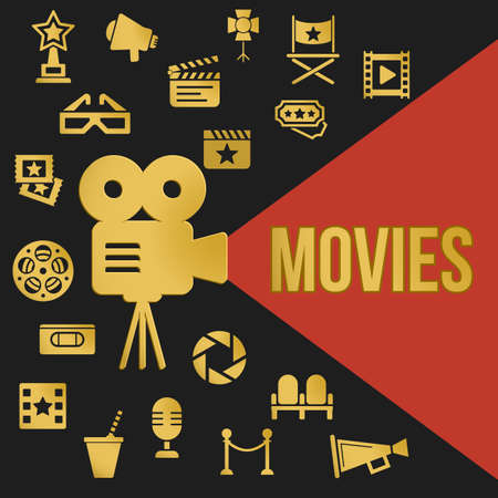 film projector: Movies Retro Video Projector with Spotlight. Film Projector Highlights Word Movies. Template vector concept with cinema icons.