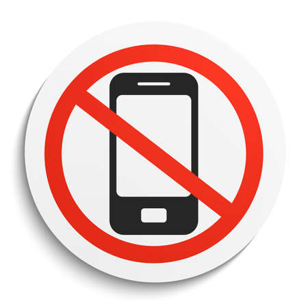 sign not to talk by phone: No Phone Prohibition Sign on White Round Plate. No smartphonel forbidden symbol.  No Smartphone Vector Illustration on white background