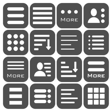 navigation pictogram: Hamburger Menu Icons Set. Bar Line Hamburger Menu Collection. Vector Illustration of Hamburger Menu Isolated on dark background.