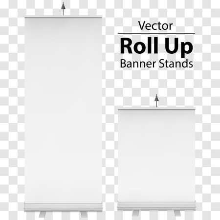 expo: Blank Roll Up Banner Expo Stands. Trade show booth white and blank. 3d vector illustration on transparent background. Template mockup for your expo design.
