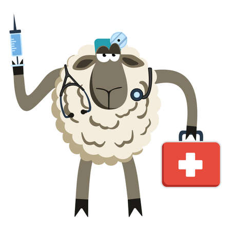 opinionated: Stubborn Lamb Doctor. Sheep professional character. Vector illustration of stubborn doctor of medicine.