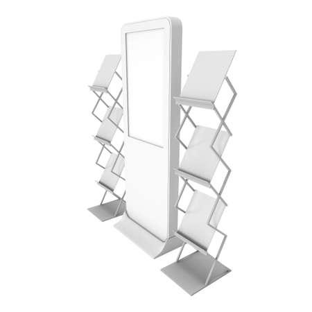 expositor: LCD de exhibición del estante y Revista. LCD en blanco stand de feria. 3d aislado en el fondo blanco. Alta resolución LCD. Plantilla de anuncio para su diseño expo. Foto de archivo