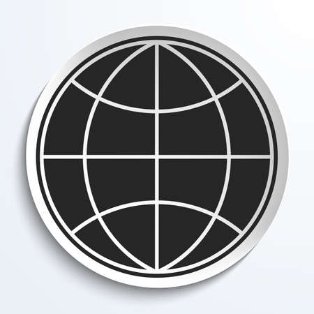 meridians: Earth Globe Icon on White Plate. Earth on Plate Illustration. Black Earth with meridians and parallels. Travel and Transportation Concept.