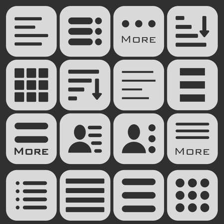 enumerate: Hamburger Menu Icons Set. Bar Line Hamburger Menu Collection. Illustration of Hamburger Menu Isolated on dark background.