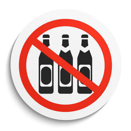 no alcohol: No Beer Prohibition Sign on White Round Plate. No alcohol forbidden symbol.  No Beer Illustration on white background