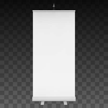 Blank Roll Up Banner Expo Stands. Beursstand wit en leeg. 3D-afbeelding op een donkere transparante achtergrond. Template bespotten voor uw expo design.