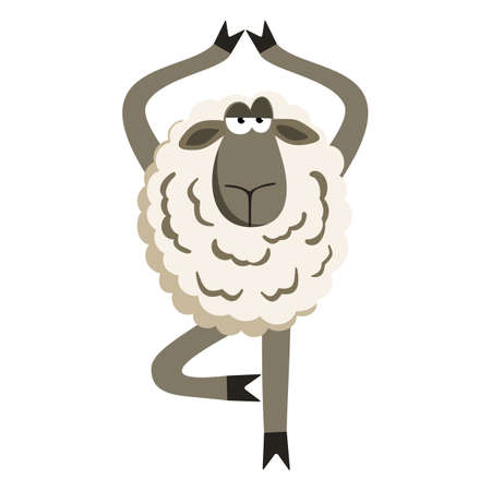 yoga asana tree pose: Stubborn Lamb in Yoga Tree Pose. Sheep character. illustration of stubborn sheep doing yoga tree-pose isolated on white background