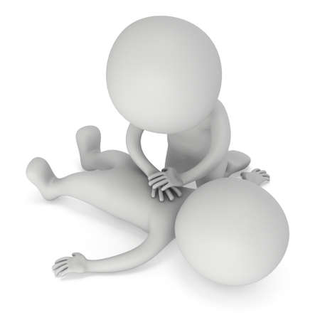 3d Man doing CPR First Aid. 3d CPR training concept on white background. CPR illustration