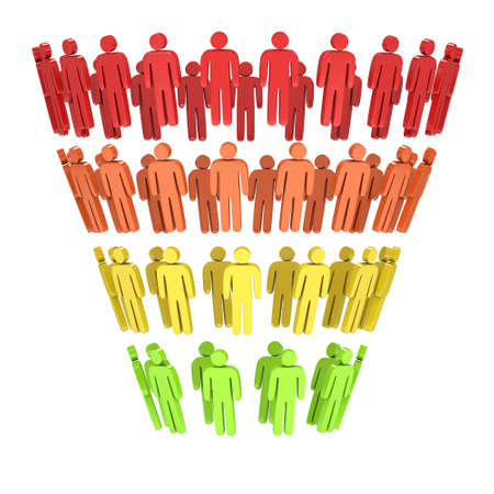 Marketing Funnel Sales Diagram with People. 3d render isolated on white background. Conversion Funnel Sale Chart. Concept of Funnel and Sales. Stock Photo